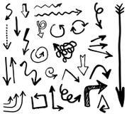 Collection de flèches de vecteur de griffonnage D'isolement Ensemble tiré par la main Image libre de droits