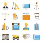 Collection de Flat Colored Icons d'architecte Photographie stock