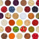 Collection de fond f d'écrous carrés de légumes de baies de fruits Photographie stock