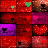 Collection de fond rouge de bokeh de coeur Texture de jour de valentines Photo libre de droits