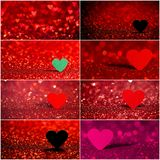 Collection de fond rouge de bokeh de coeur Texture de jour de valentines Photographie stock libre de droits