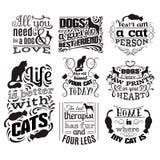 Collection de fond typographique de citation au sujet des chats et des chiens Photo libre de droits