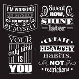 Collection de fond typographique de citations saines illustration de vecteur