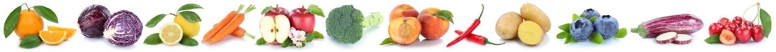 Collection de fruits et légumes d'isolement dans une orange de pomme de rangée Image libre de droits
