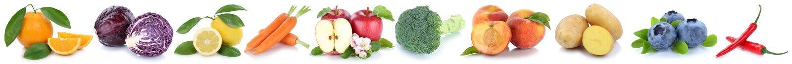 Collection de fruits et légumes d'isolement dans une pomme de baies de rangée Photographie stock