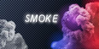 Collection de fumée, fond d'isolement et transparent Placez de la vapeur blanche réaliste de fumée, vagues de café, thé, cigarett illustration stock