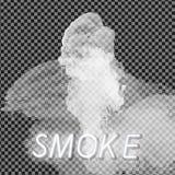 Collection de fumée, fond transparent Placez de la vapeur blanche réaliste de fumée, vagues de café, thé, cigarettes, illustration libre de droits