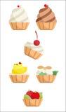 Collection de gâteaux avec de la crème Images libres de droits