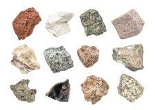 Collection de géologie de roche plutonique d'isolement sur le blanc photos libres de droits