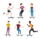 Collection de garçons modernes et de filles adolescents de patineur montant des planches à roulettes Ensemble de jeunes adolescen illustration libre de droits
