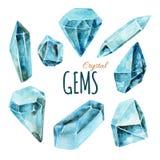 Collection de gemmes d'aquarelle Photographie stock libre de droits