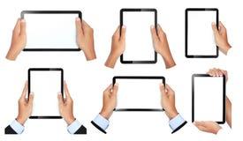Collection de geste de main tenant la tablette tactile Photographie stock
