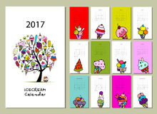 Collection de glace, conception du calendrier 2017 Photographie stock libre de droits
