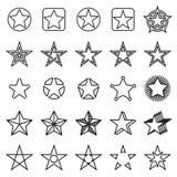 Collection de 25 icônes linéaires d'étoile d'isolement sur un fond blanc Illustration Stock