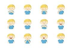 Collection de 12 illustrations de petit garçon montrant différentes émotions illustration libre de droits