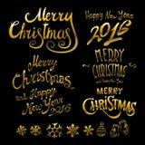 Collection de inscription de Joyeux Noël et de nouvelle année 2016 Positionnement d'illustration de vecteur illustration stock