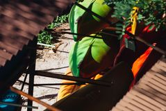 Collection de kayaks dans le stockage, image stock