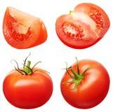 Collection de légumes rouges entiers et de coupe de tomate Photo stock