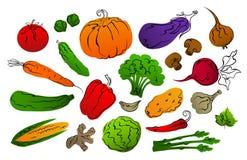 Collection de légumes tirés par la main remplis et noirs stylisés de gradient d'ensembles illustration libre de droits