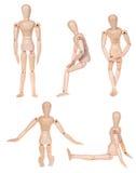 Collection de la figurine humaine en bois factice photo stock