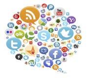 Boutons sociaux de médias Photographie stock