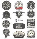 Collection de label d'anniversaire, 25 ans illustration stock