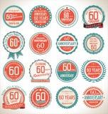 Collection de label d'anniversaire, 60 ans Image stock
