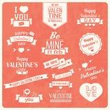 Collection de labels de vintage de Saint-Valentin, conception typographique Photo libre de droits