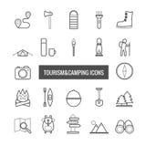 Collection de ligne tourisme de vecteur et d'icônes de camping pour le desi de Web illustration stock