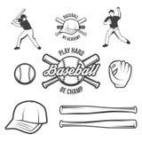 Collection de logo et d'insignes de base-ball de vecteur, présentée avec un ensemble d'illustrations d'équipement de base-ball illustration de vecteur