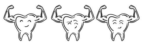 Collection de logos des dents avec les mains fortes Un ensemble de dents stylisées des bodybuilders logo Vecteur noir et blanc Images libres de droits