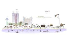 Collection de luxe de ville d'illustration d'hôtel de club de plage illustration de vecteur
