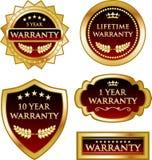 Collection de médaille de label d'or de garantie illustration de vecteur