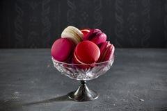 Collection de macarons roses photo stock