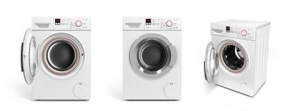 Collection de machine à laver sur l'illustratio blanc du fond 3D Photographie stock