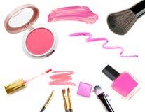 Collection de maquillage et isolat professionnels d'outils sur le blanc Photographie stock libre de droits