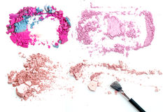 Collection de maquillage et isolat professionnels d'outils sur le blanc Photographie stock
