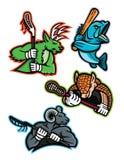 Collection de mascotte de sports de lacrosse et de base-ball Images stock