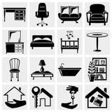 Meubles, icônes de maisons réglées. Photos stock