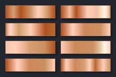 Collection de milieux avec un gradient métallique Plats brillants avec l'effet en bronze Illustration de vecteur illustration stock