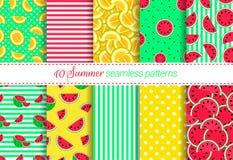 Collection de milieux d'été La pastèque, melon, fruit, baie pointille, barre les modèles sans couture réglés Textur répété par ve illustration de vecteur