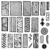 Collection de modèle floral géométrique de griffonnage Photographie stock