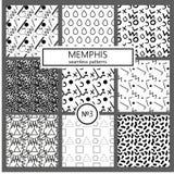 Collection de modèles de Memphis d'échantillons - sans couture Mode 80-90s Textures de mosaïque noires et blanches Photographie stock
