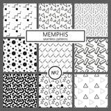 Collection de modèles de Memphis d'échantillons - sans couture Mode 80-90s Textures de mosaïque noires et blanches Images libres de droits
