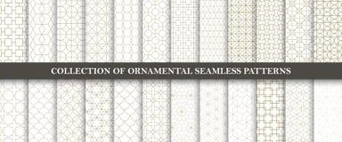 Collection de modèles ornementaux sans couture de vecteur Conception orientale géométrique de grille illustration stock