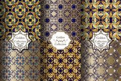 Collection de modèles sans couture luxueux de bleu et d'or illustration de vecteur