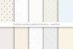 Collection de modèles sensibles sans couture de vecteur Textures tileable pointillées et rayées de couleur illustration libre de droits