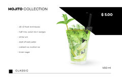 Collection de Mojito Calibre de menu de vecteur avec le cocktail réaliste Images libres de droits