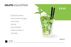Collection de Mojito Calibre de menu de vecteur avec le cocktail réaliste Photographie stock libre de droits