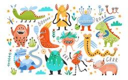 Collection de monstres ou d'étrangers drôles Paquet de créatures mignonnes fantastiques ou de conte de fées Personnages de dessin illustration stock